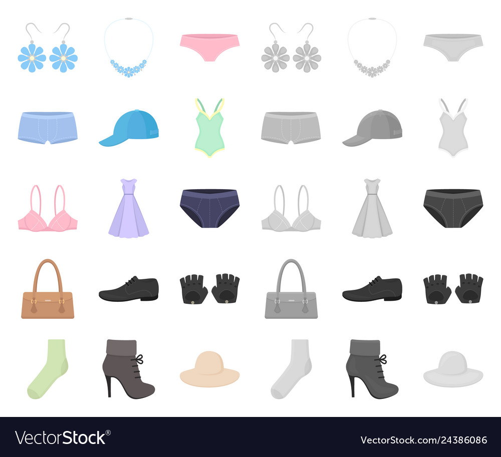 Clothes and accessories cartoonmono icons in set