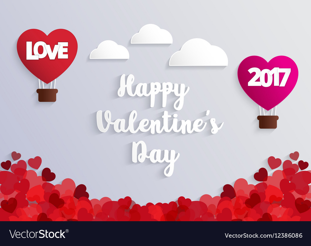 Concept of Valentine day hot air balloon