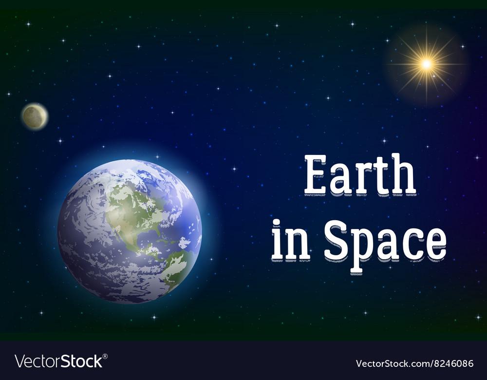 Earth moon and sun vector image