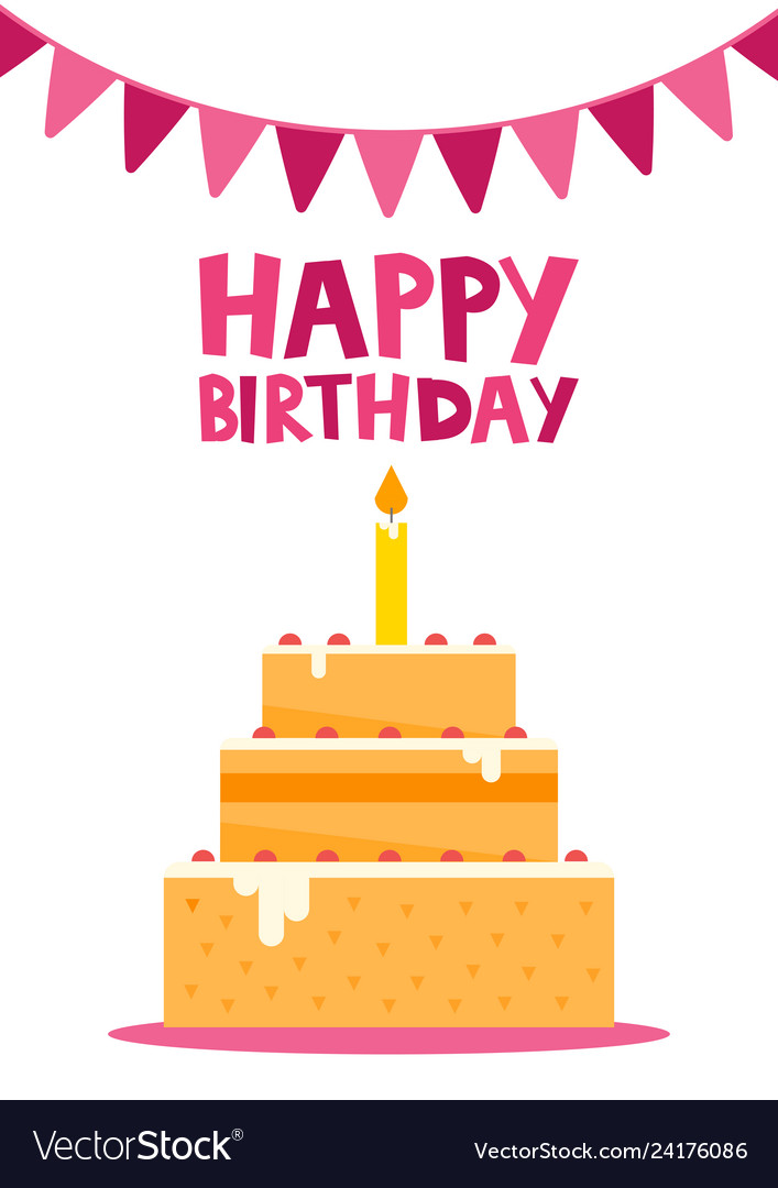 Prime Happy Birthday Card Design With Cake Royalty Free Vector Funny Birthday Cards Online Fluifree Goldxyz