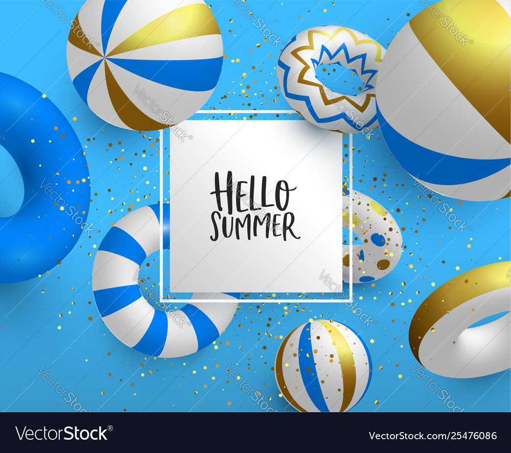 Holiday summer card template 3d gold life saver