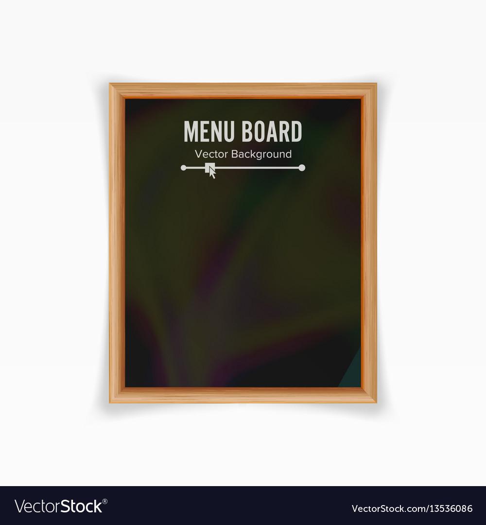 Menu Black Board Empty Chalkboard Blank Vector Image