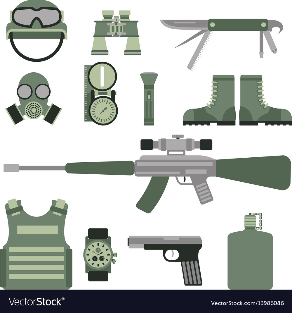 Military weapon guns symbols armor set forces vector image