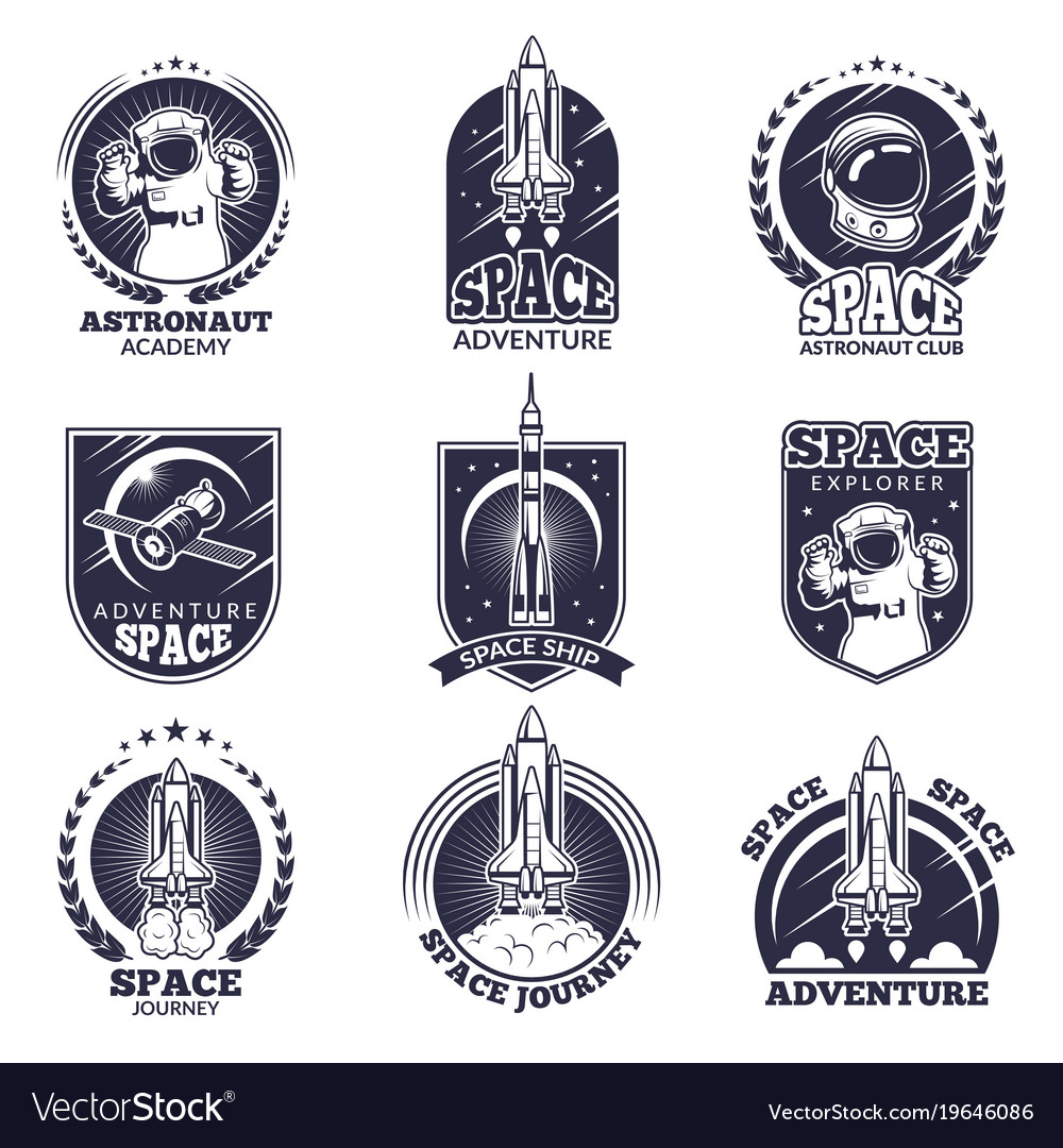 Monochrome labels for astronauts badges
