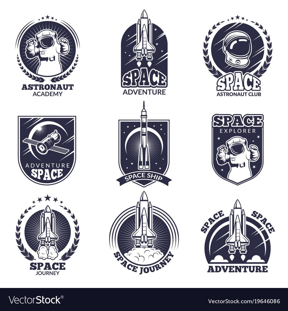 Monochrome labels for astronauts badges