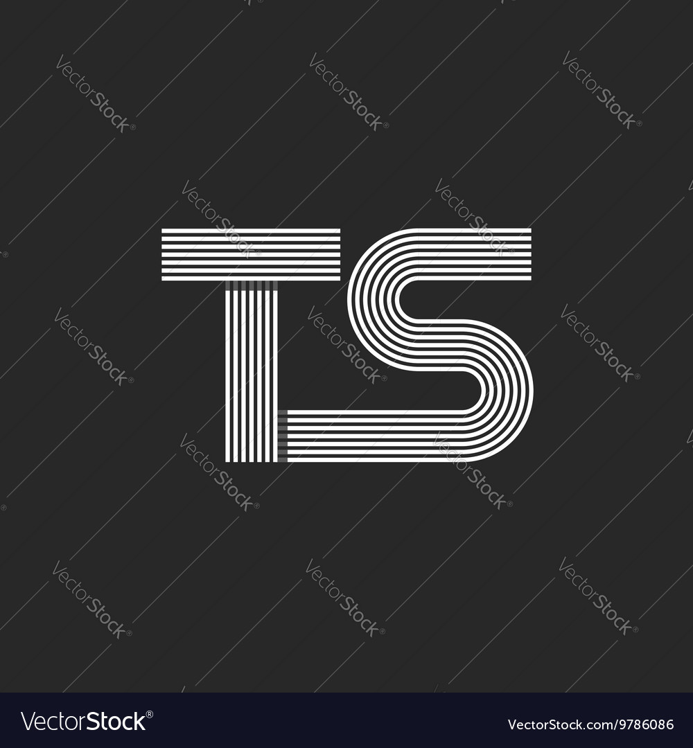 Monogram letters TS logo combination two letter T vector image