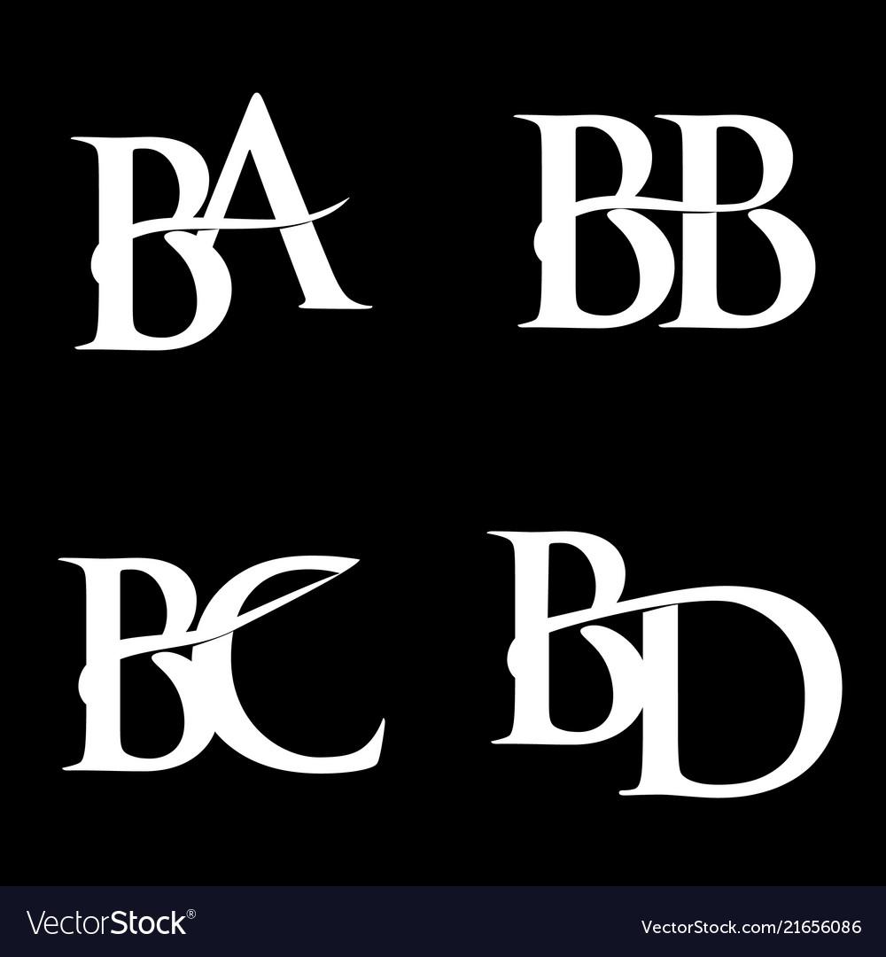 Monogram Logo Design Ba Bb Bc Bd Vector Image