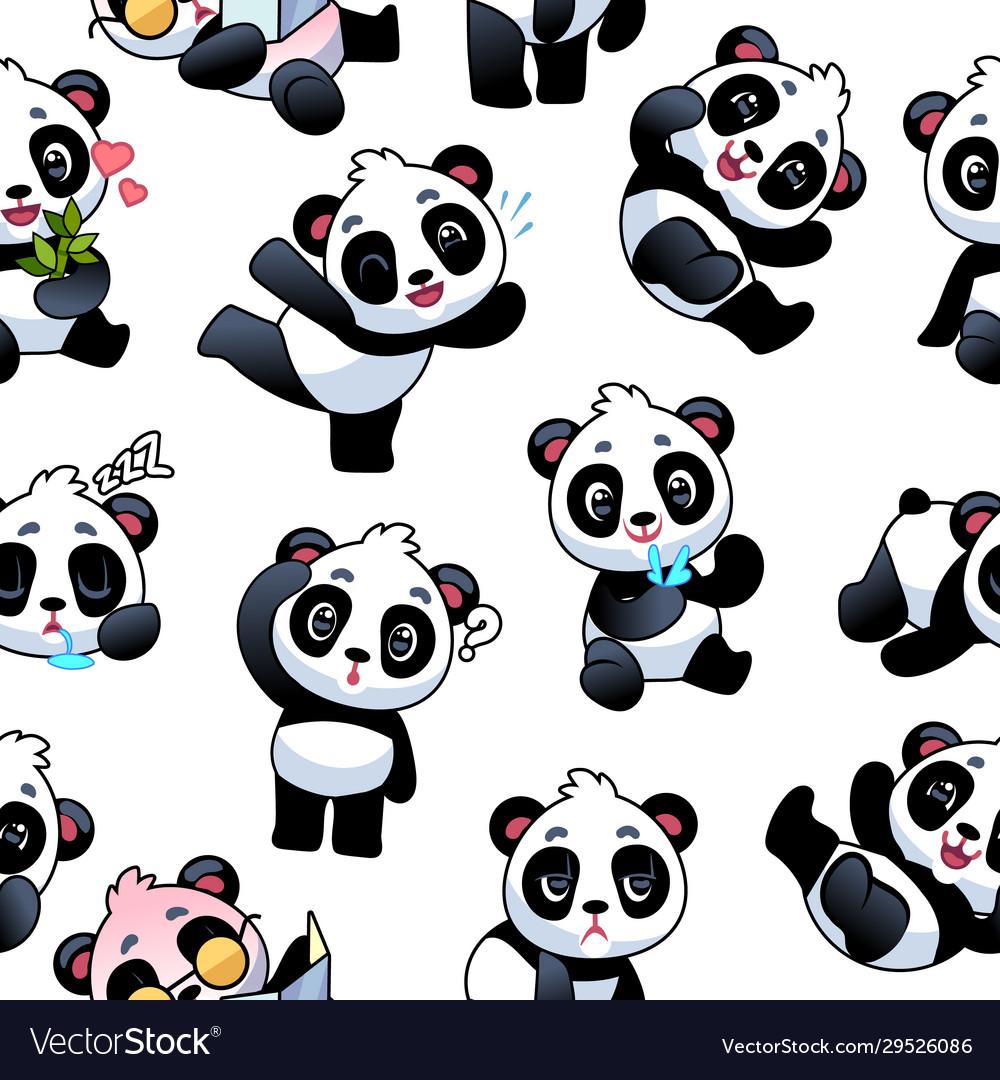 Panda seamless pattern cute little bamboo bears