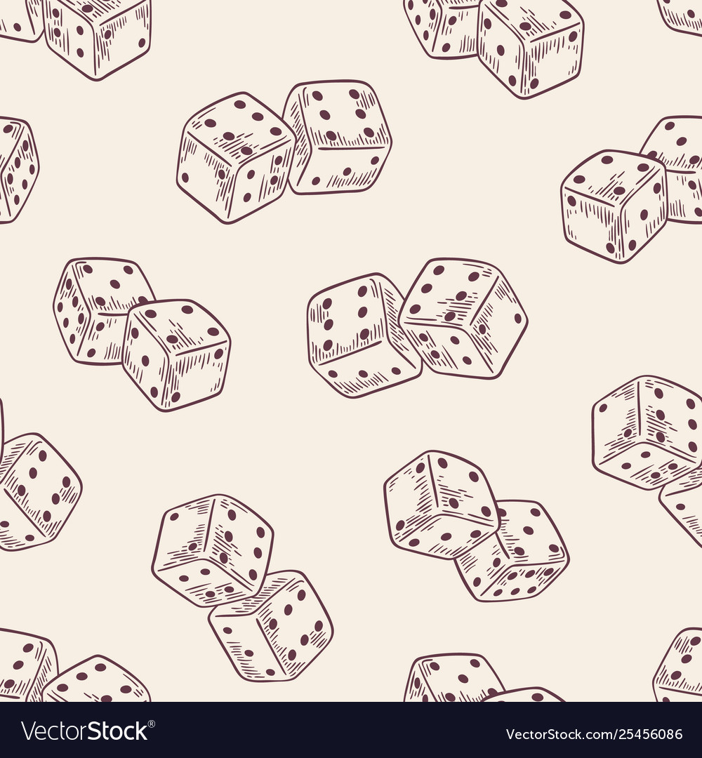 Seamless pattern with dice hand drawn with contour