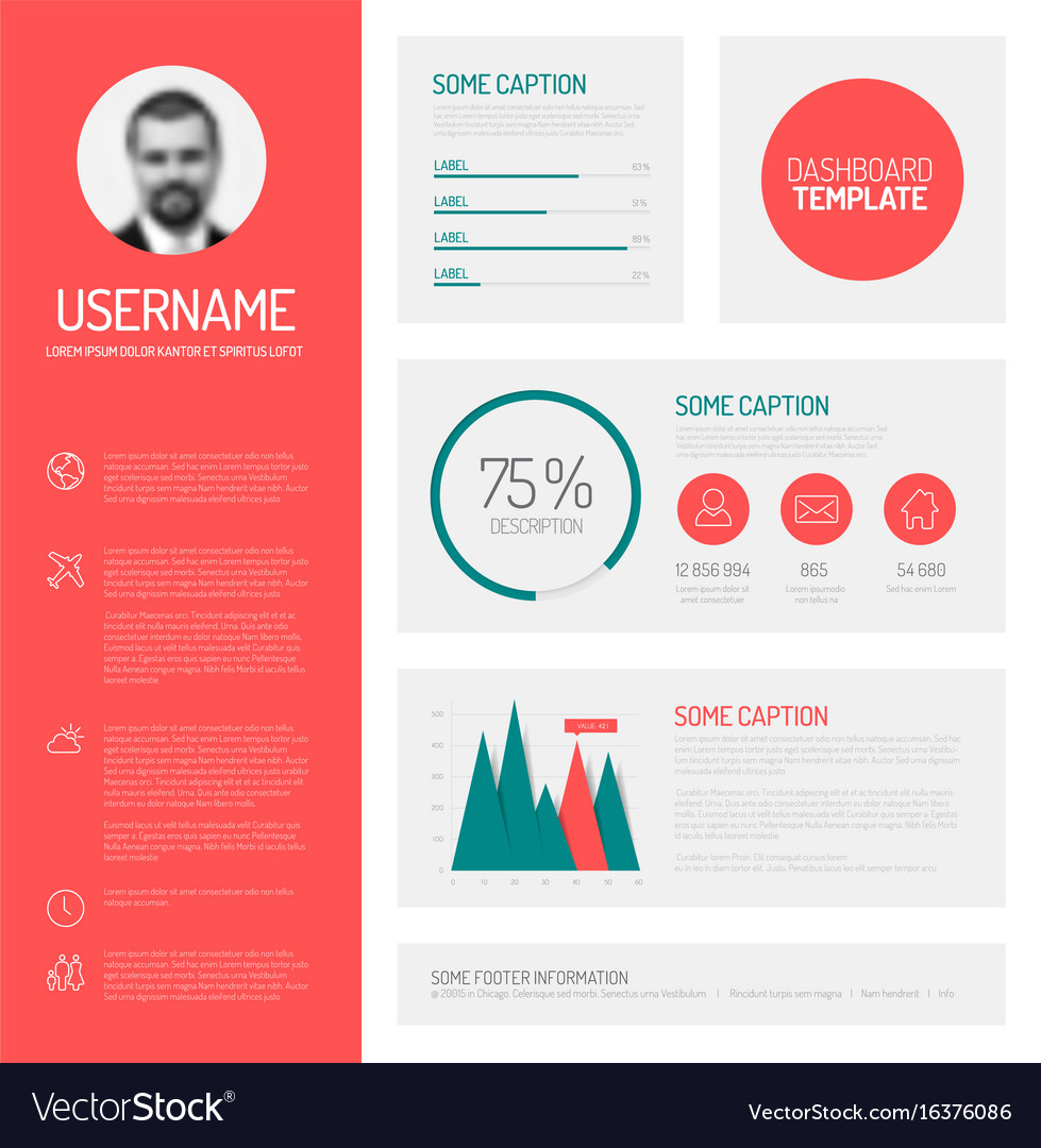 simple profile dashboard template royalty free vector image