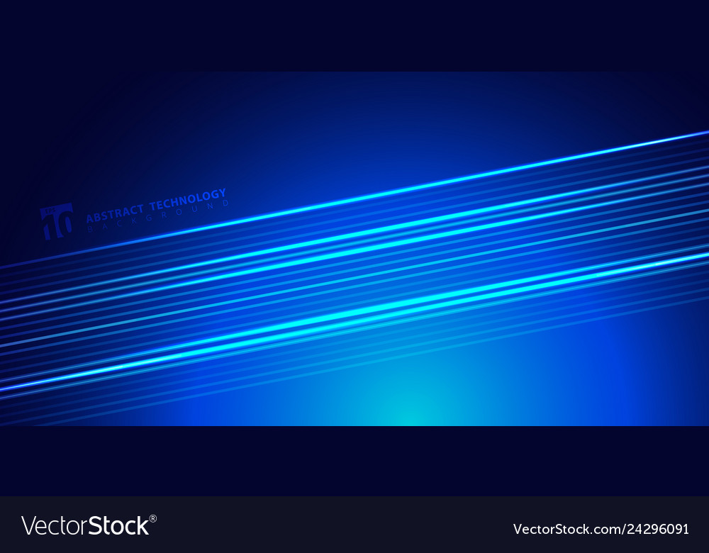 Abstract striped bright blue glowing lines on