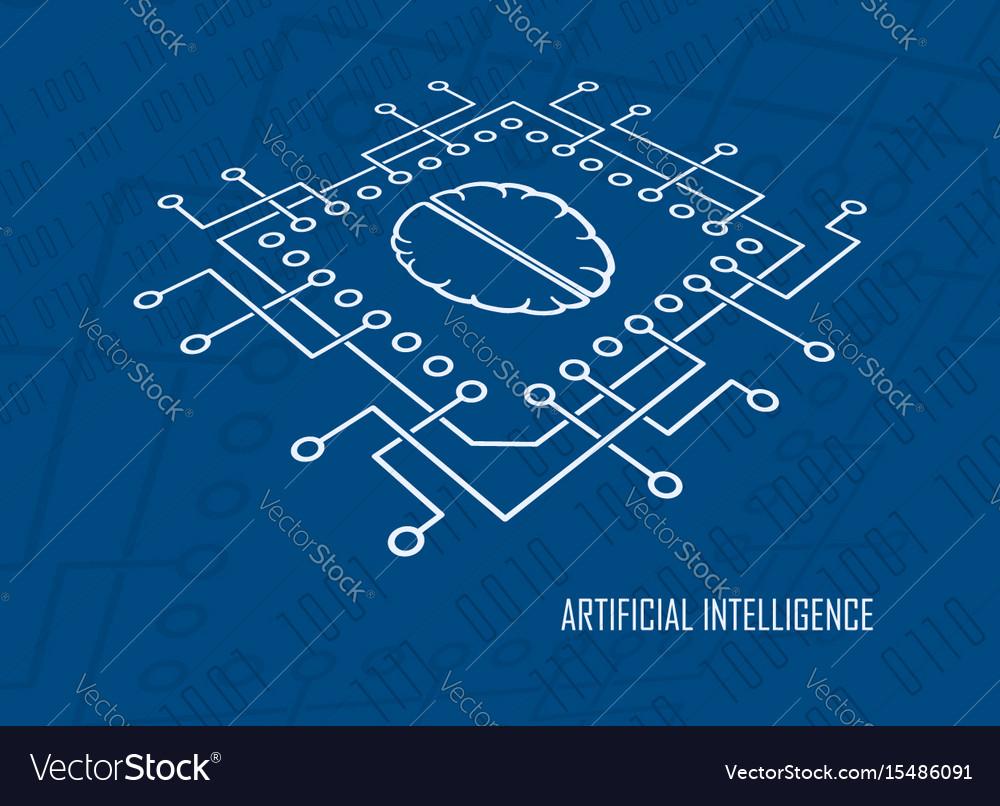 Artificial intelligence cpu brain vector image