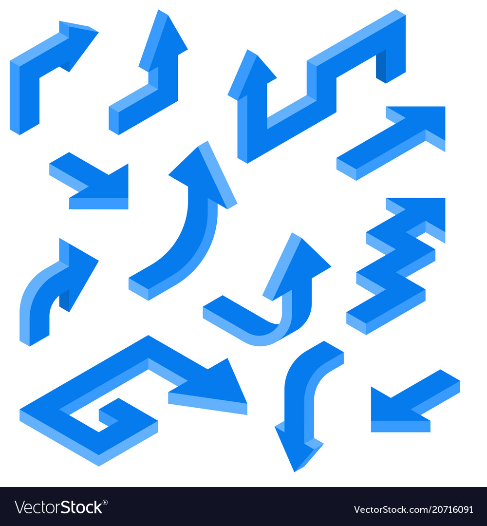 Blue arrows isometric set of 3d icons