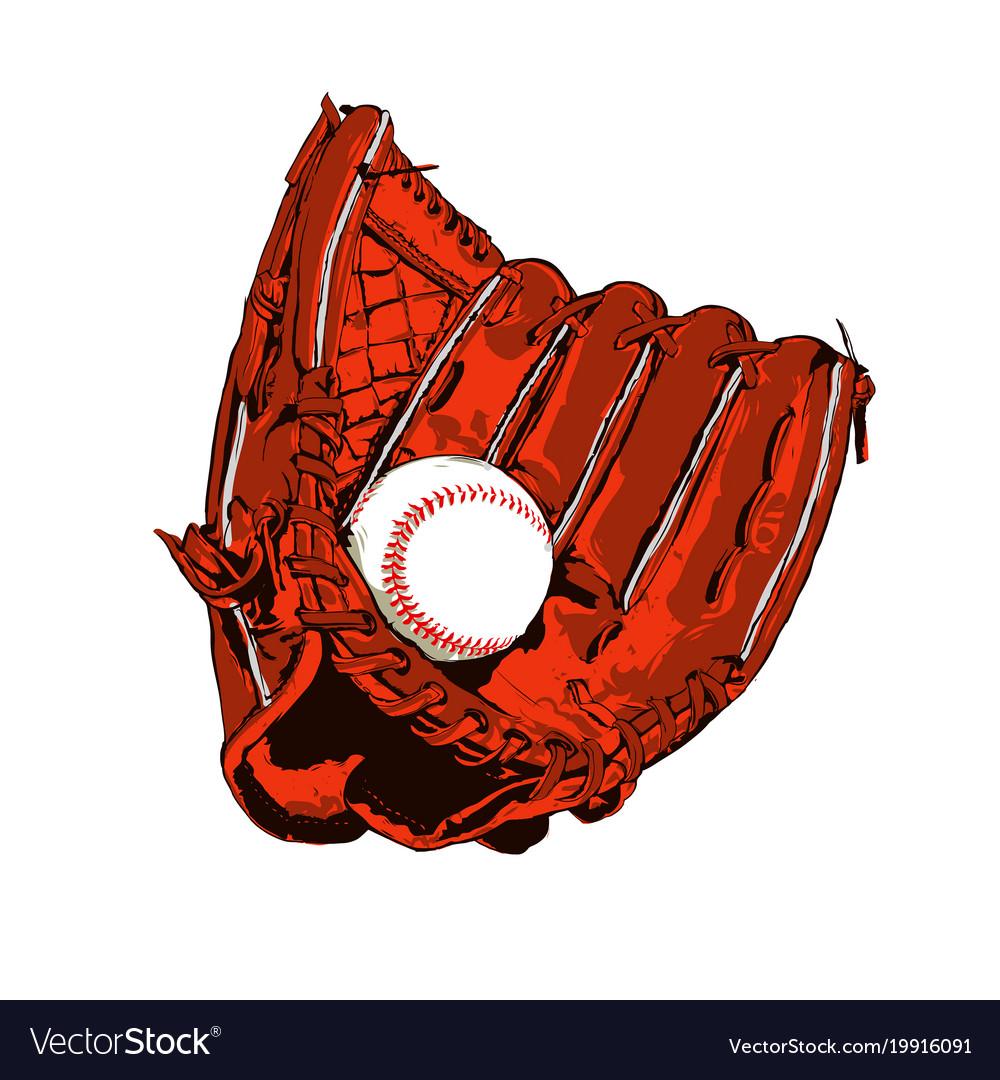 Brown baseball glove and ball