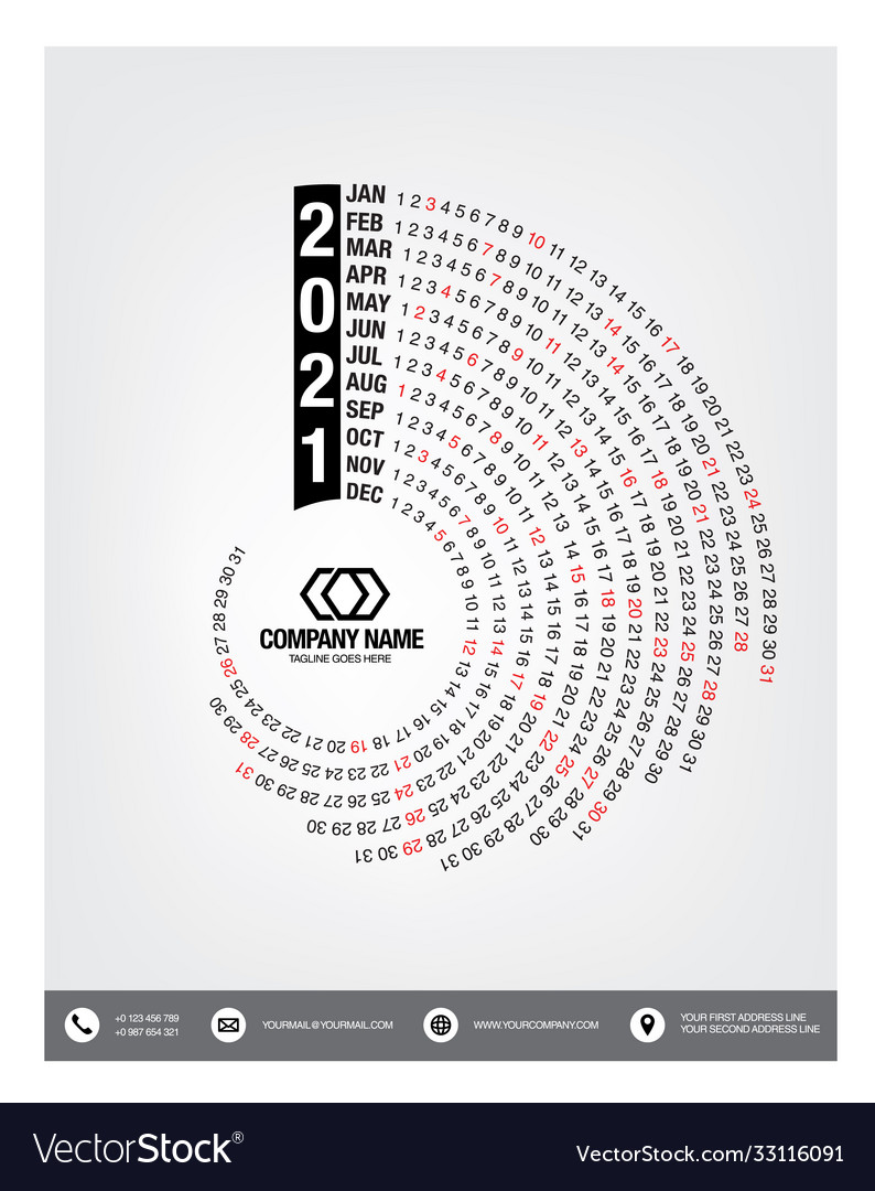 Calendar 2021 week start sunday corporate design