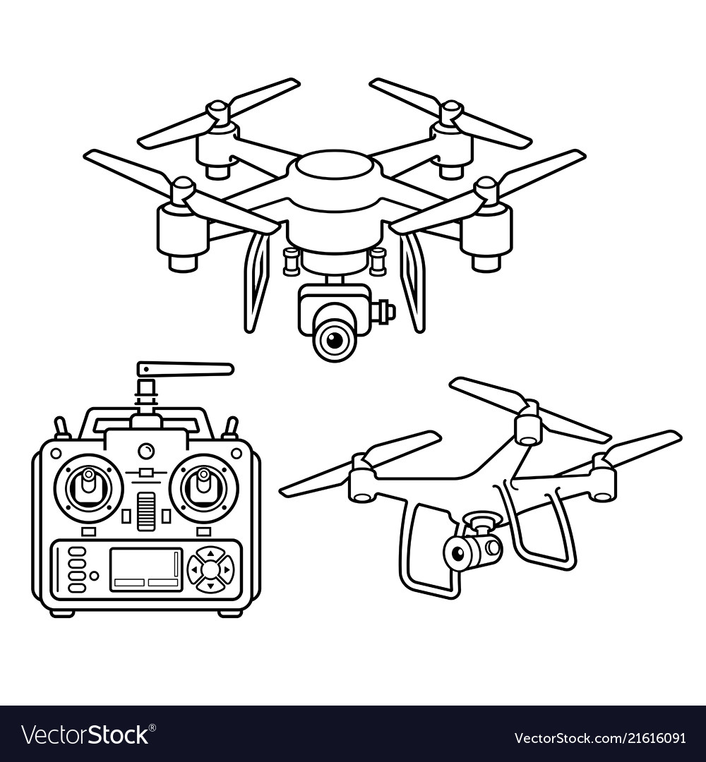 Drone silhouette icons set