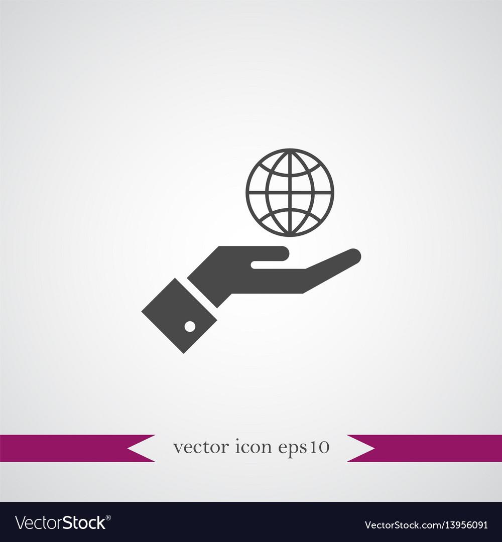 Globe on hand icon simple