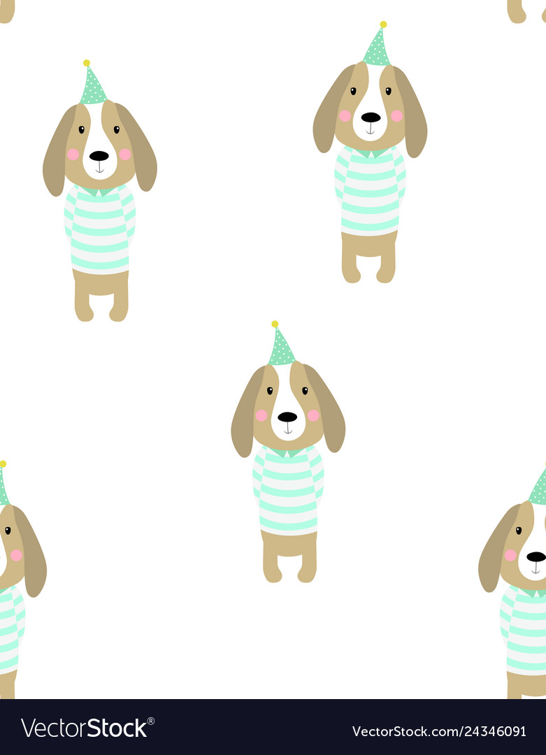 Pattern cute dog vector