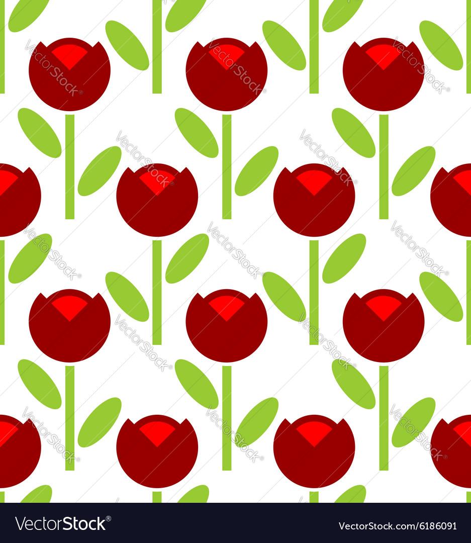 Red Tulip seamless pattern flower background Retro