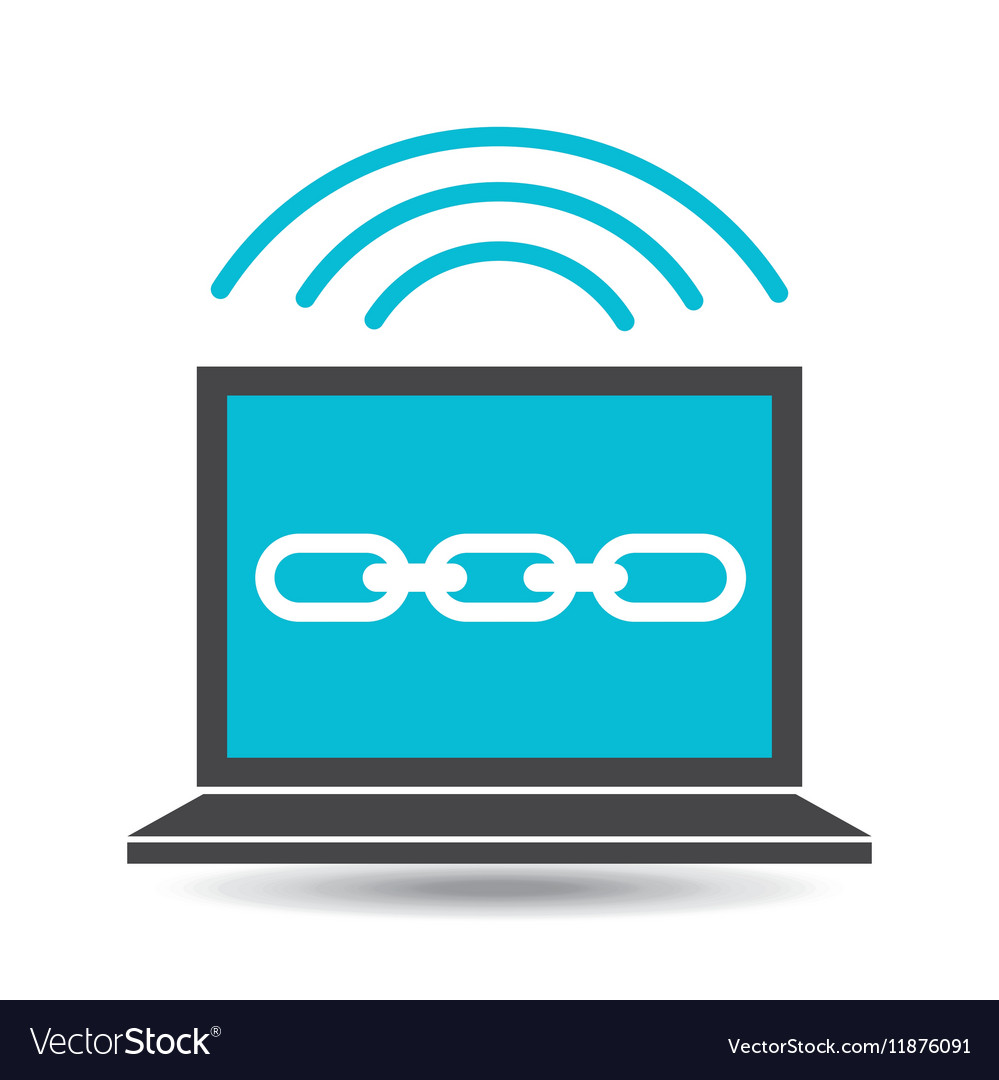Social media laptop link web vector image