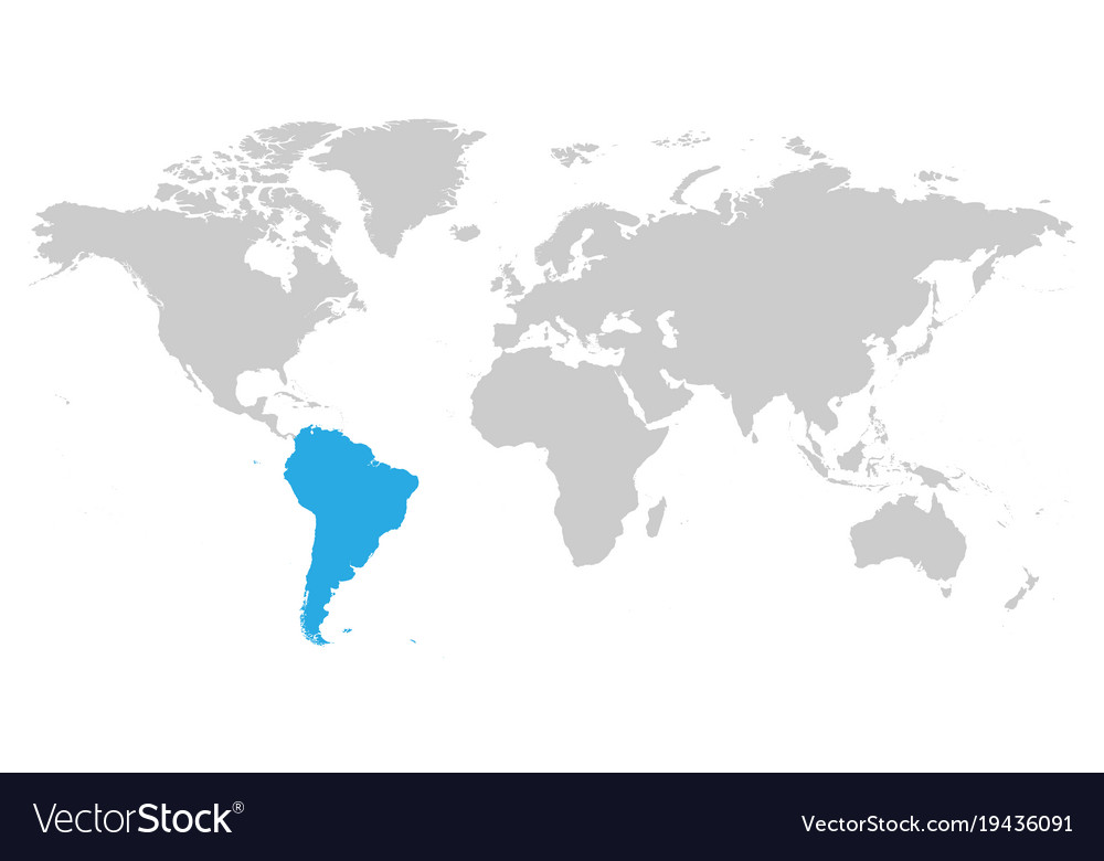 South America Continent Blue Marked In Grey Vector Image