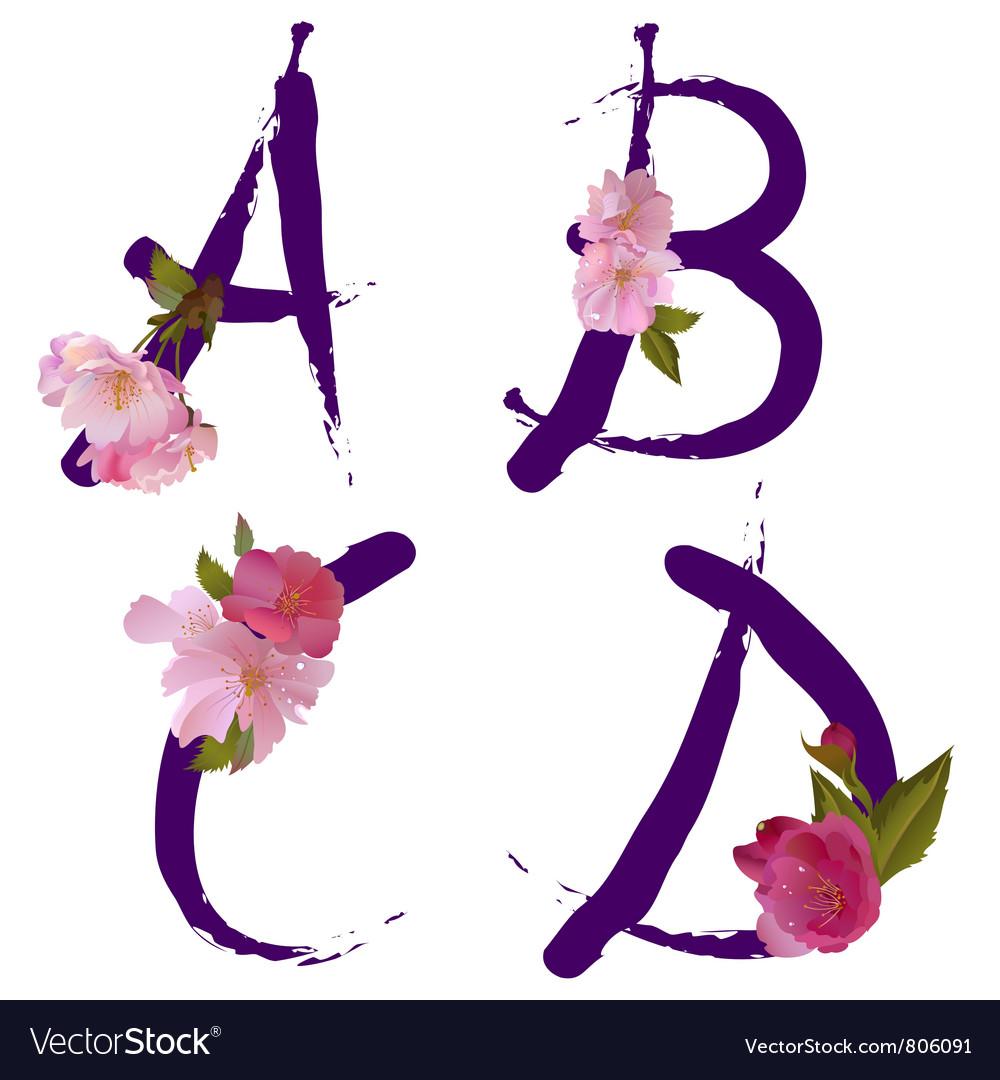 Spring alphabet with gentle sakura flowers ABCD vector image