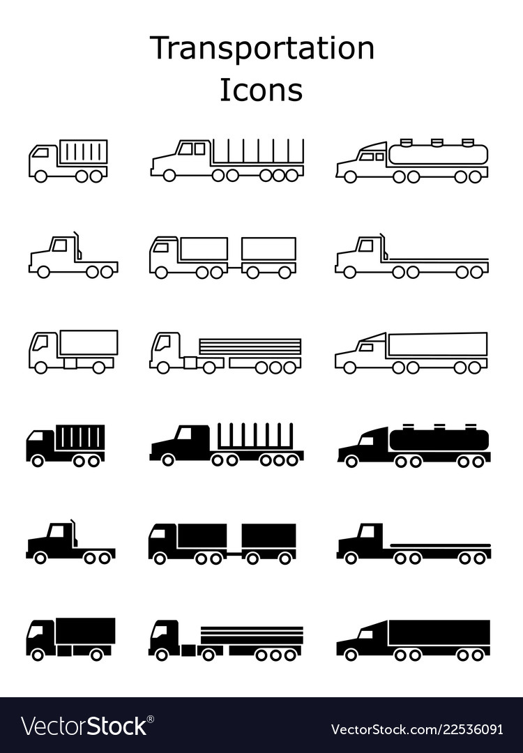 Transportation icons set delivery trailers cargo