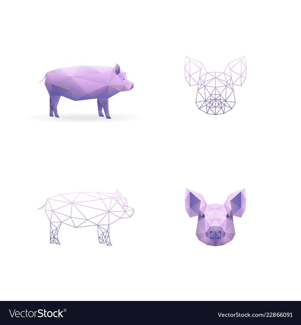 Year pig polygonal style