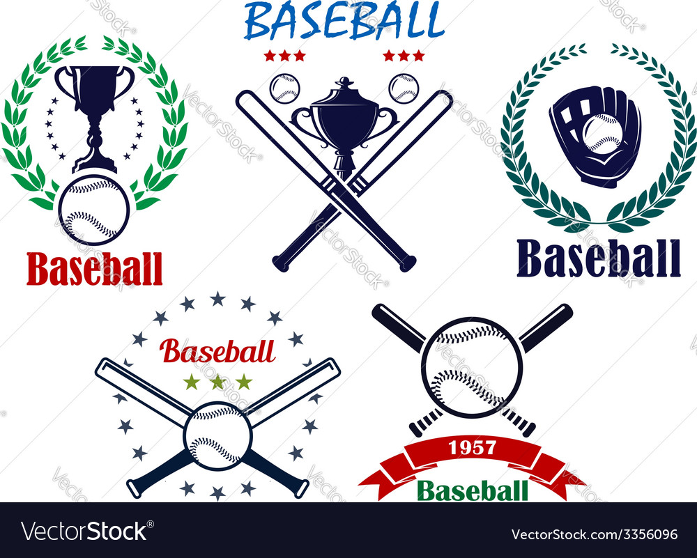 Baseball sporting emblems and symbols