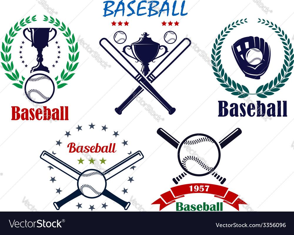 Baseball sporting emblems and symbols vector image