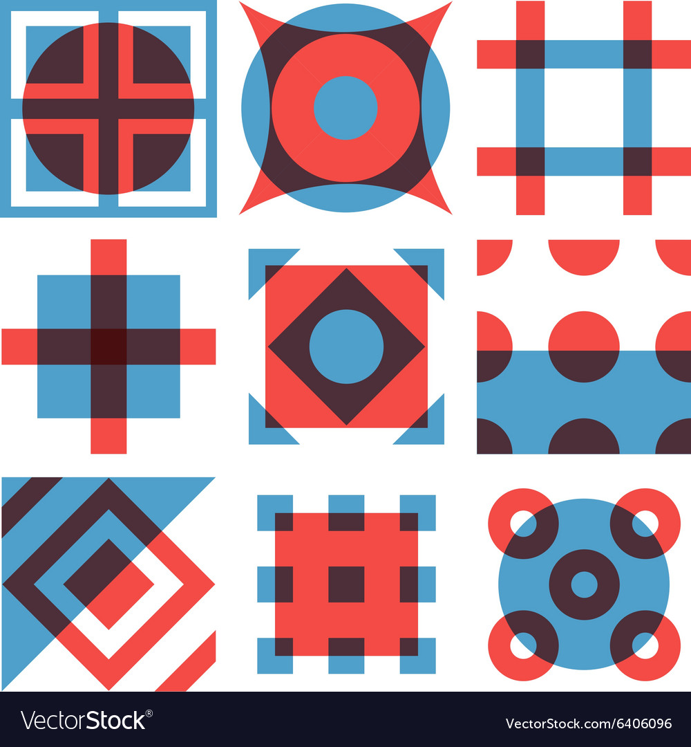 geometric shapes patterns set royalty free vector image