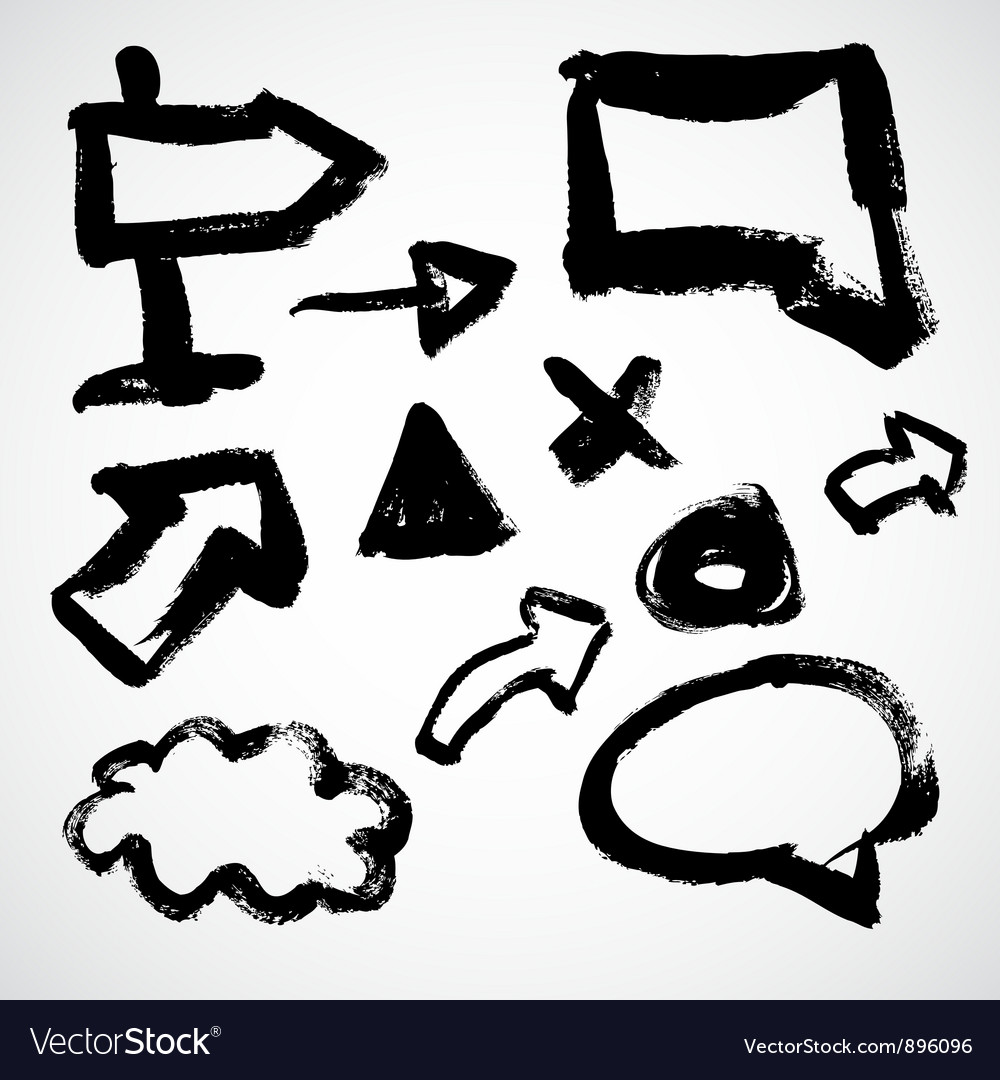 Grunge sketch of arrows and frames vector image