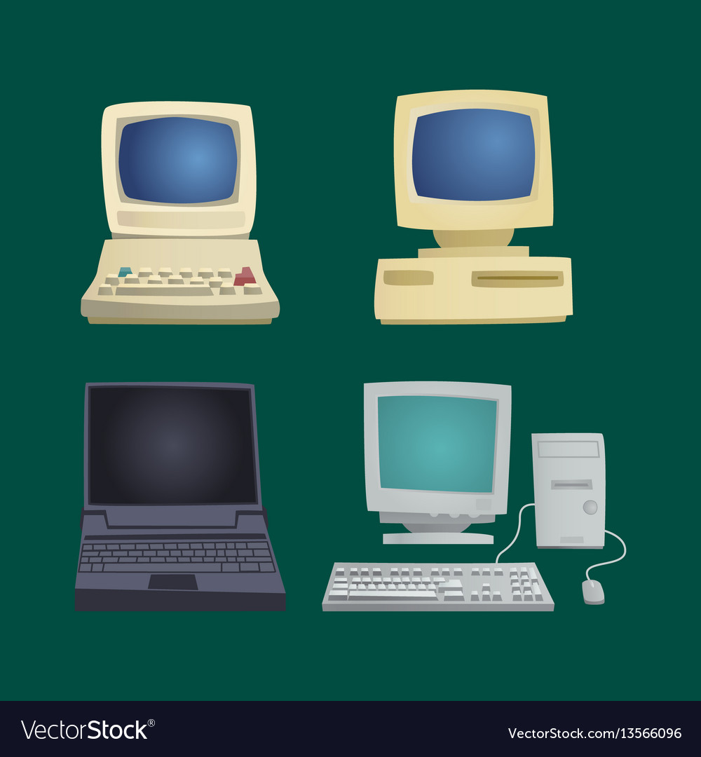 Retro computer item classic antique technology vector image on VectorStock