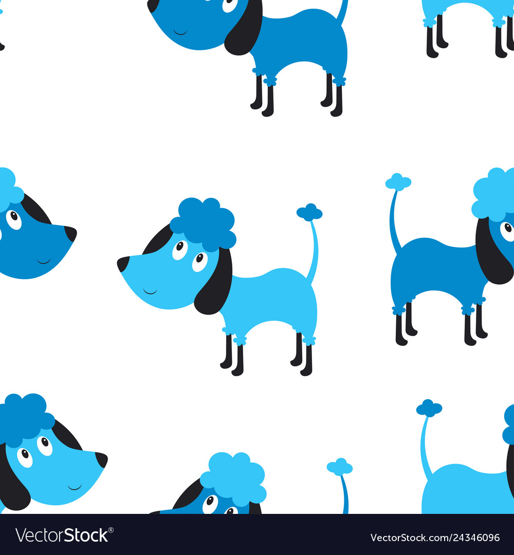 Seamless blue dog pattern