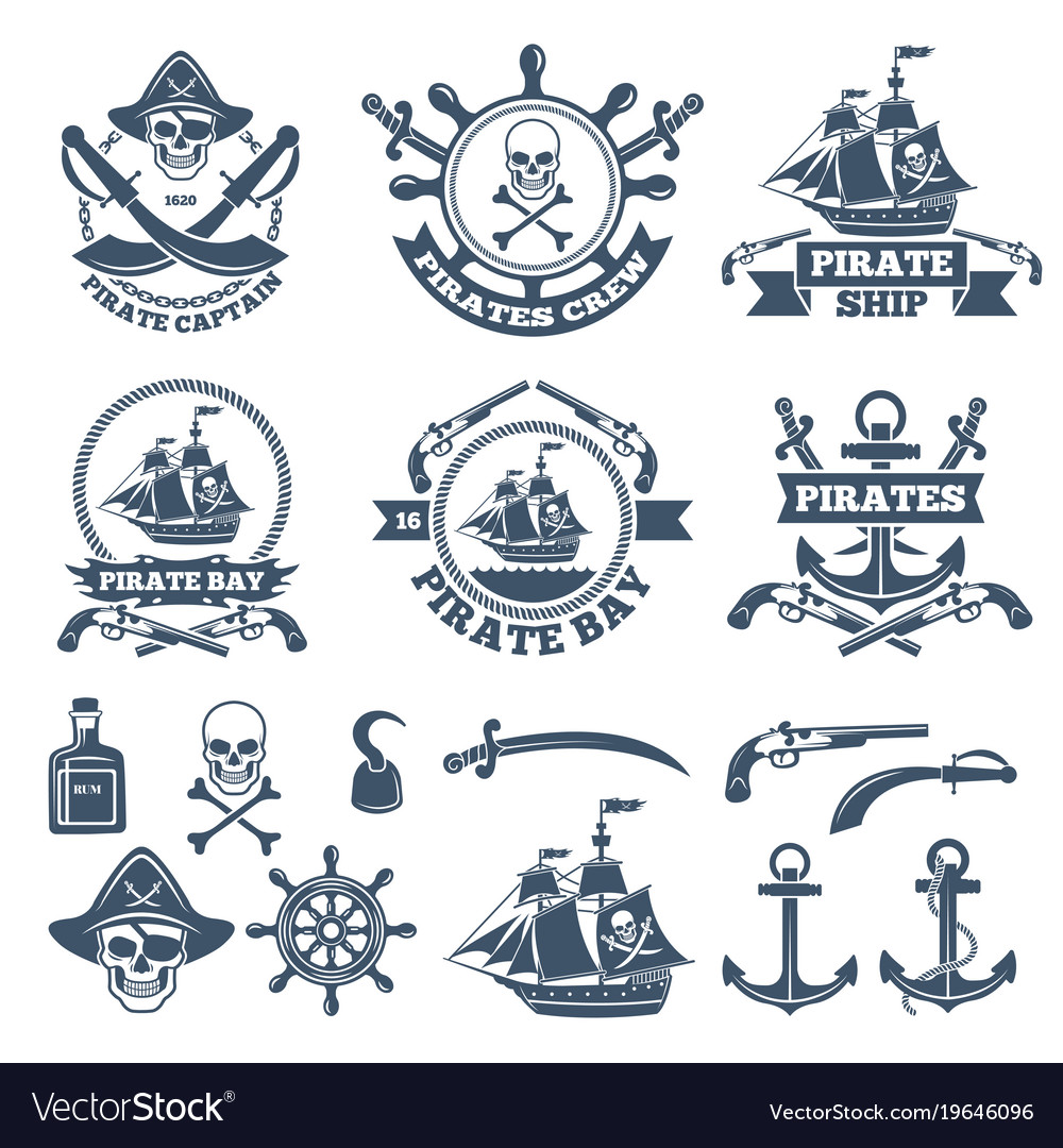 Vintage nautical and pirates labels monochrome