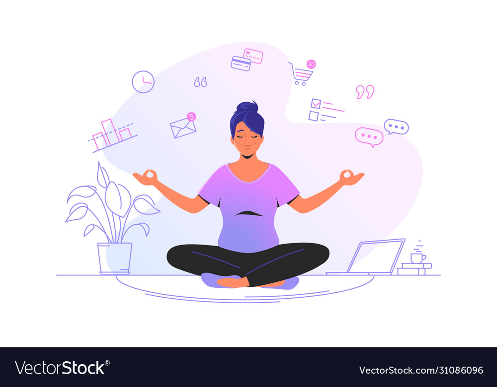 Working and meditating at home cute woman sitting