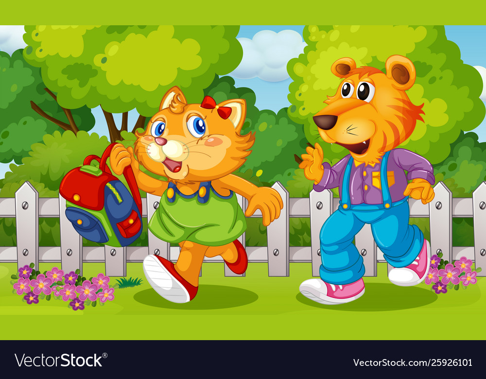 Animal cartoon character at garden