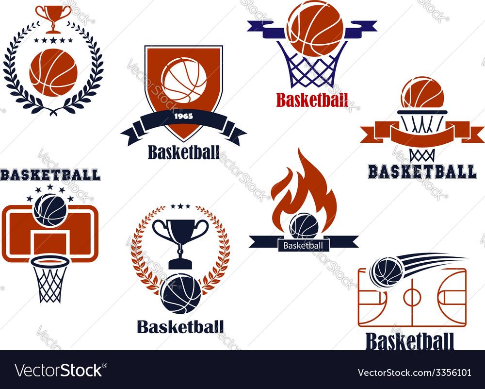 Basketball tournament and emblem designs vector image