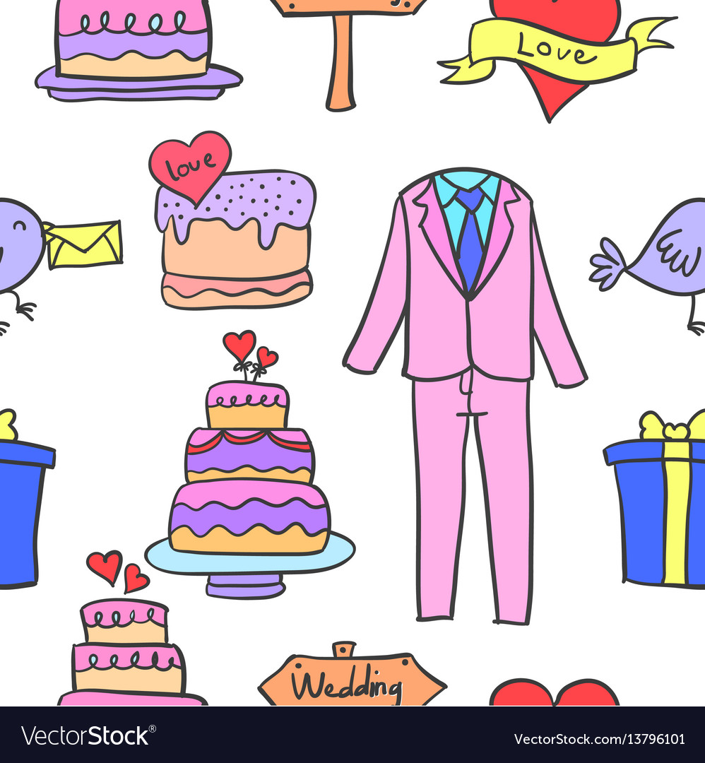 Collection of wedding party doodles vector image