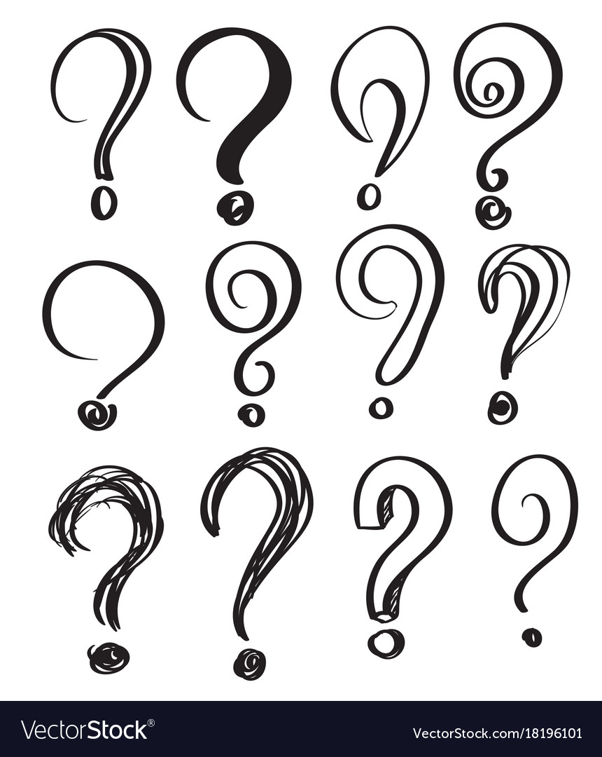 Hand drawn doodle questions marks set