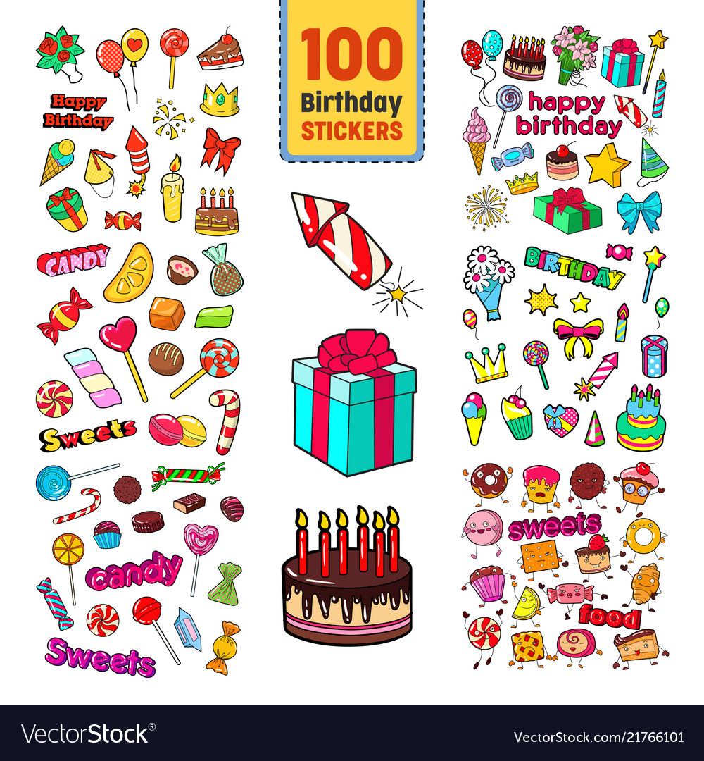 Happy birthday stickers collection childish party vector image