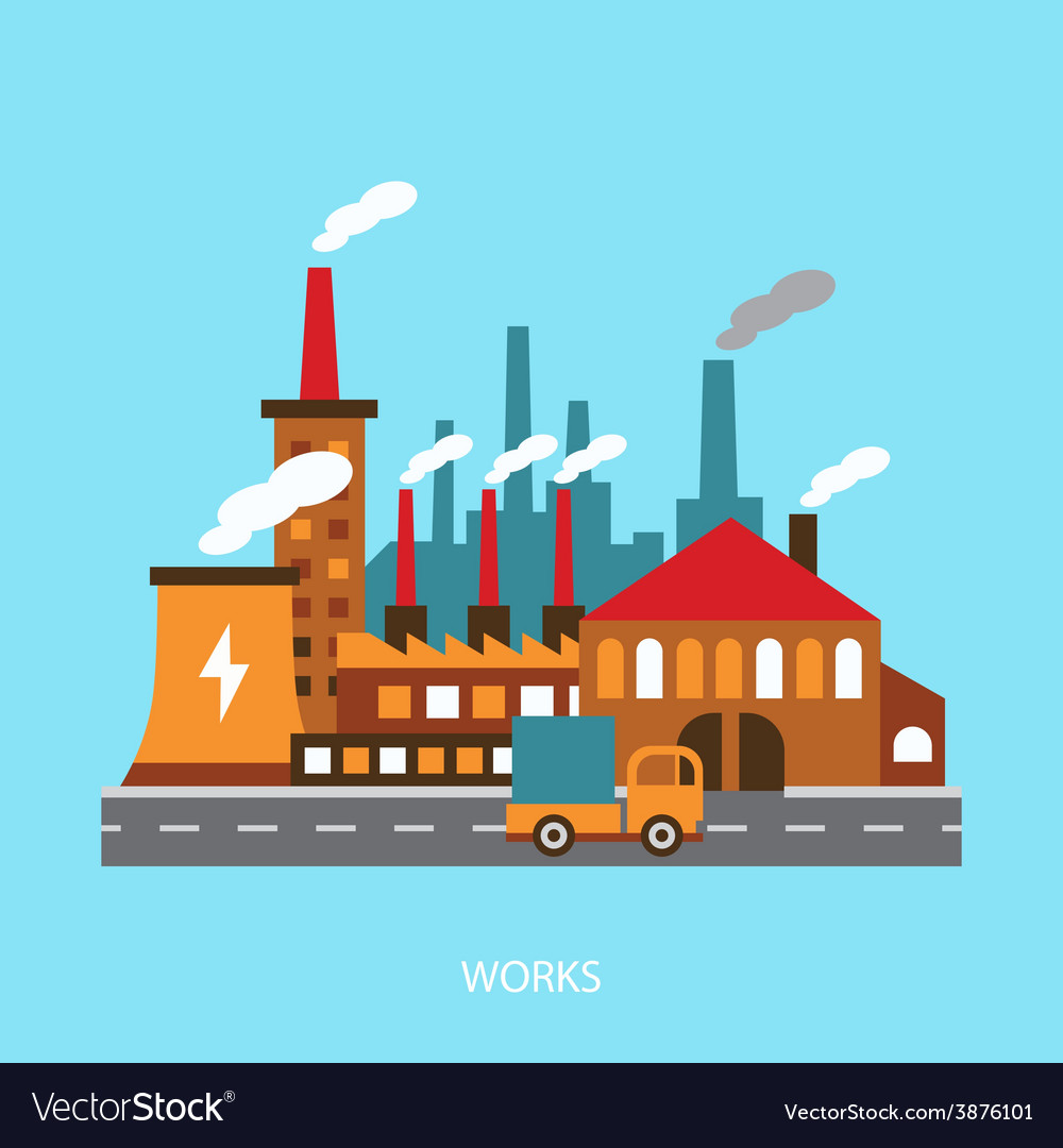 Industrial Power Plant In Flat Royalty Free Vector Image