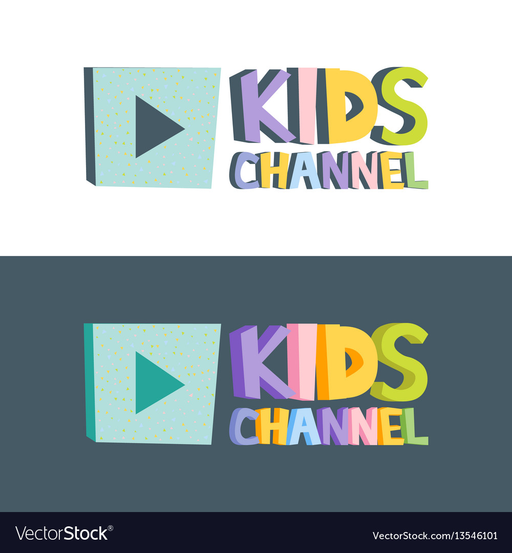 Kids channel funny letters cartoon logo template