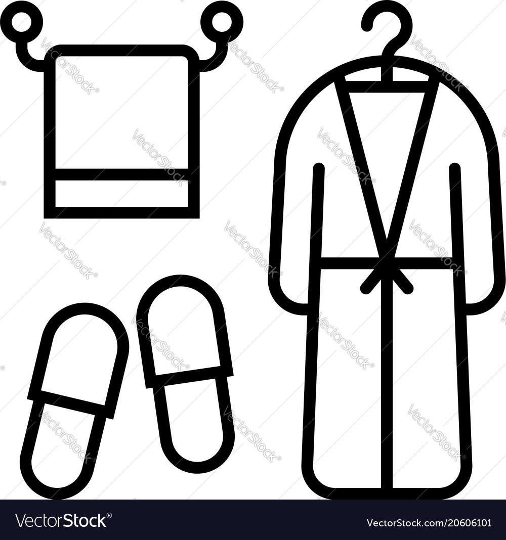 Line icon of bath accessories towel bathrobe and