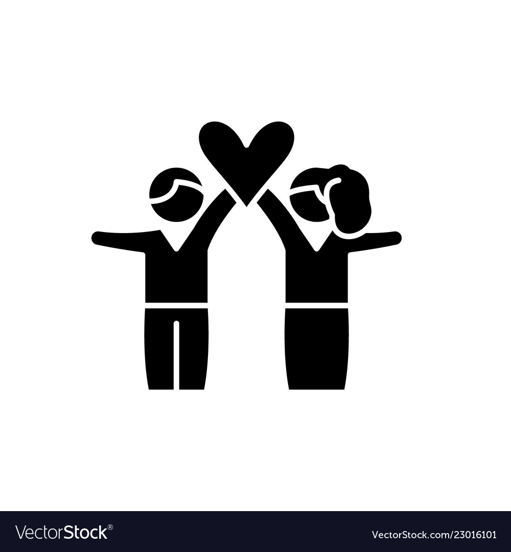 Lovers black icon sign on isolated vector image