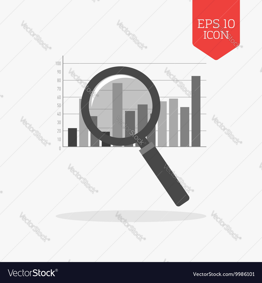 Magnifying glass over chart icon Analysis concept