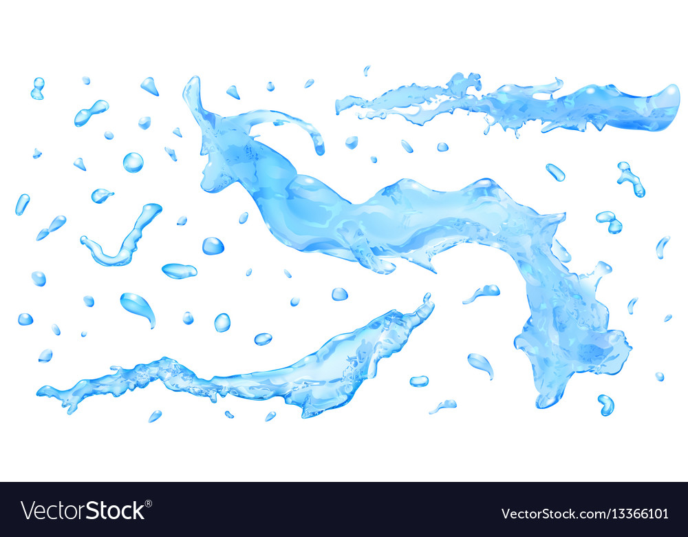 Opaque water splashes and water drops vector image