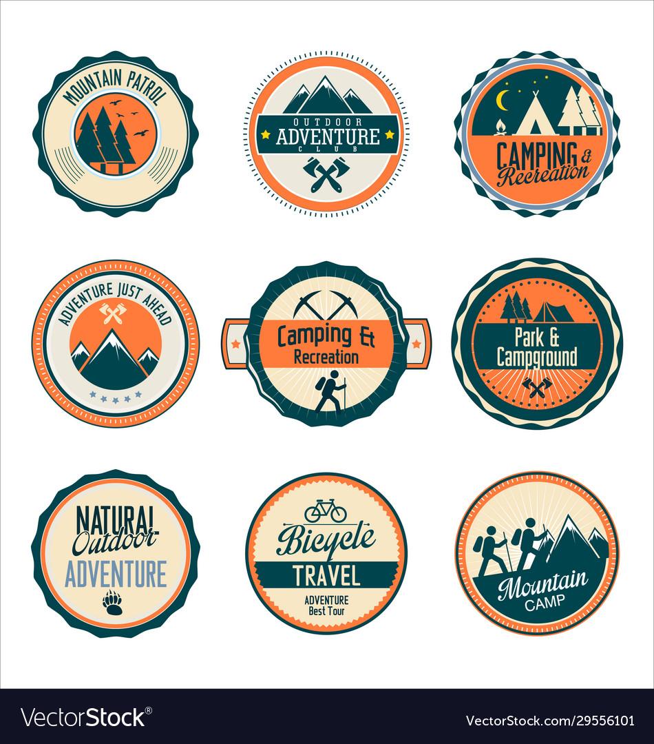 Set outdoor adventure retro labels
