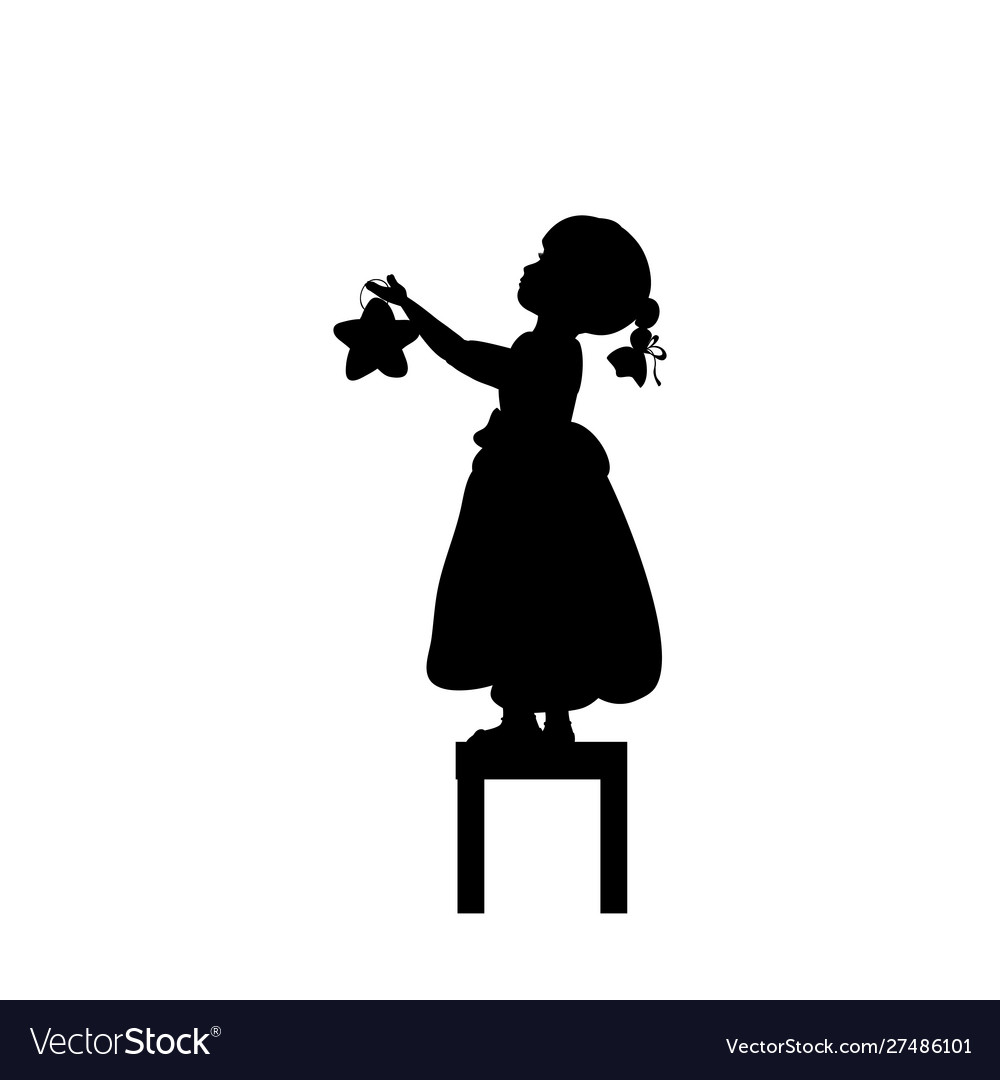 Silhouettes child stands on stools holds christmas