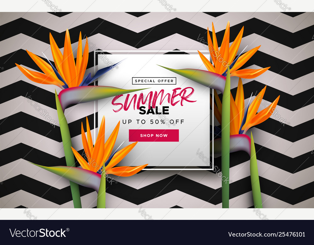 Summer sale banner template tropical flowers
